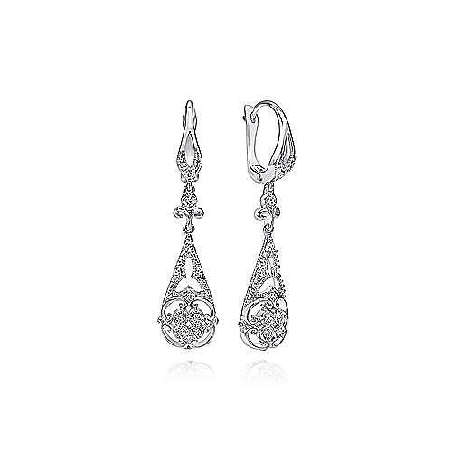 Vintage Inspired 14K White Gold Teardrop Cutout Diamond Drop Earrings