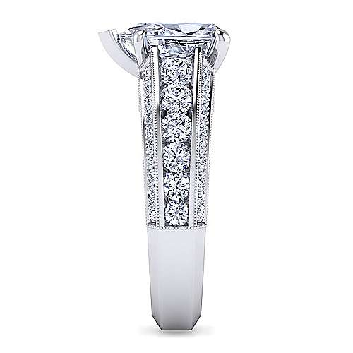 Vintage Inspired 14K White Gold Wide Band Pear Shape Diamond Engagement Ring
