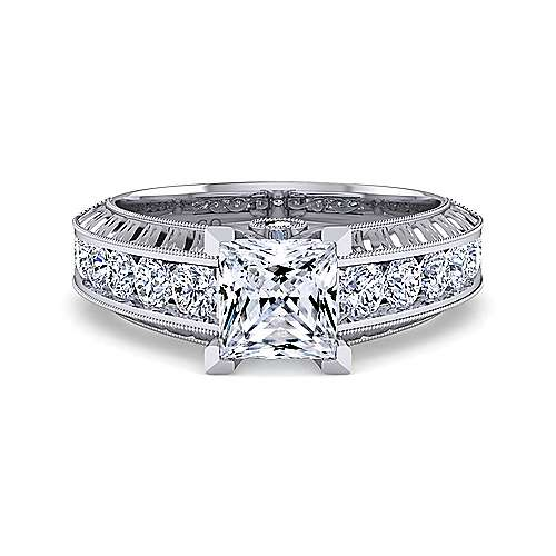 Vintage Inspired 14K White Gold Wide Band Princess Cut Diamond Engagement Ring