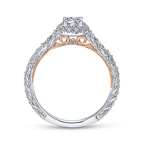 Vintage Inspired 14K White-Rose Gold Cushion Halo Round Diamond Engagement Ring