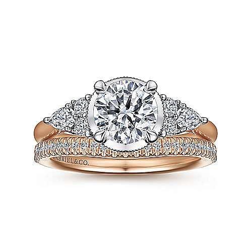 Vintage Inspired 14K White-Rose Gold Round Diamond Engagement Ring