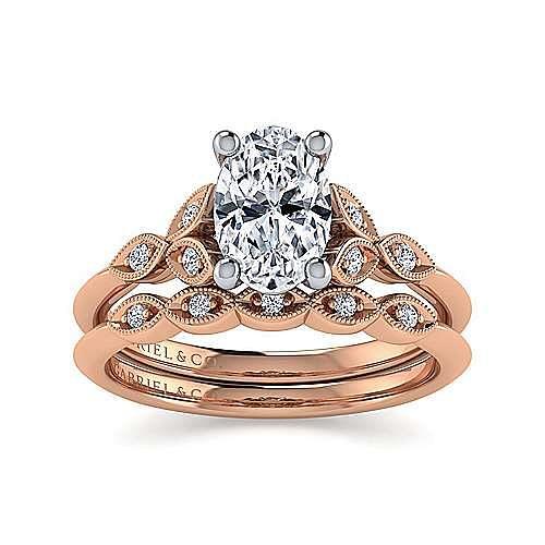 Vintage Inspired 14K White-Rose Gold Split Shank Oval Diamond Engagement Ring