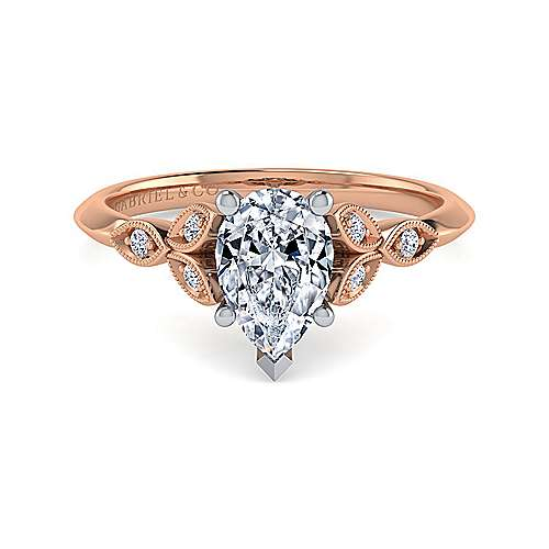 Vintage Inspired 14K White-Rose Gold Split Shank Pear Shape Diamond Engagement Ring