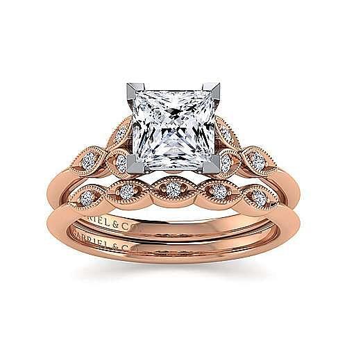 Vintage Inspired 14K White-Rose Gold Split Shank Princess Cut Diamond Engagement Ring