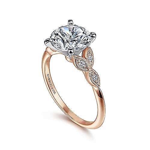 Vintage Inspired 14K White-Rose Gold Split Shank Round Diamond Engagement Ring
