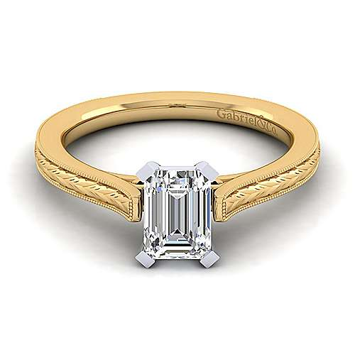 Vintage Inspired 14K White-Yellow Gold Emerald Cut Solitaire Engagement Ring