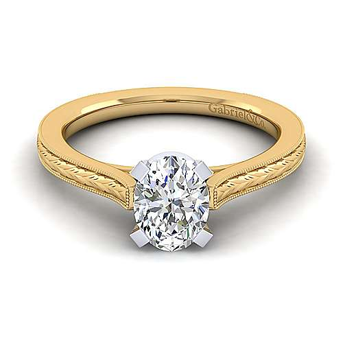 Vintage Inspired 14K White-Yellow Gold Oval Solitaire Engagement Ring