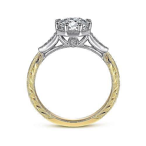 Vintage Inspired 14K White-Yellow Gold Round Diamond Engagement Ring