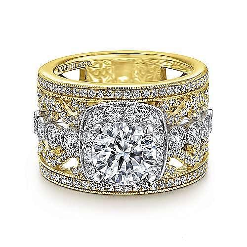 Vintage Inspired 14K White-Yellow Gold Round Halo Diamond Engagement Ring