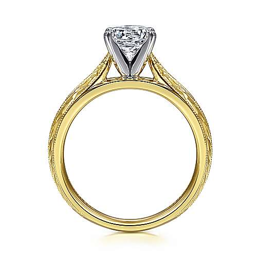 Vintage Inspired 14K White-Yellow Gold Round Solitaire Engagement Ring