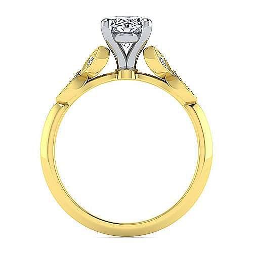 Vintage Inspired 14K White-Yellow Gold Split Shank Oval Diamond Engagement Ring