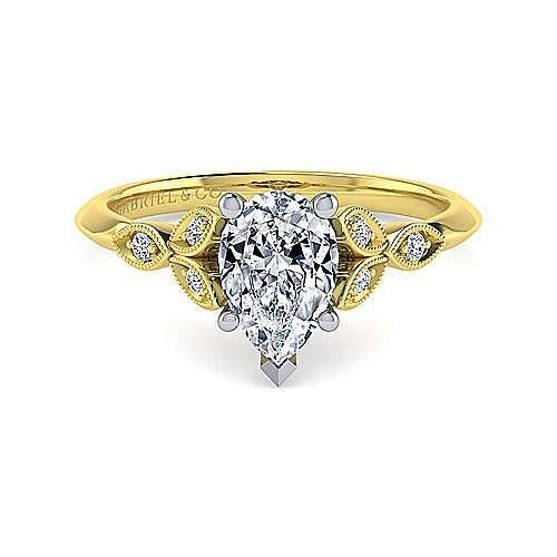Vintage Inspired 14K White-Yellow Gold Split Shank Pear Shape Diamond Engagement Ring