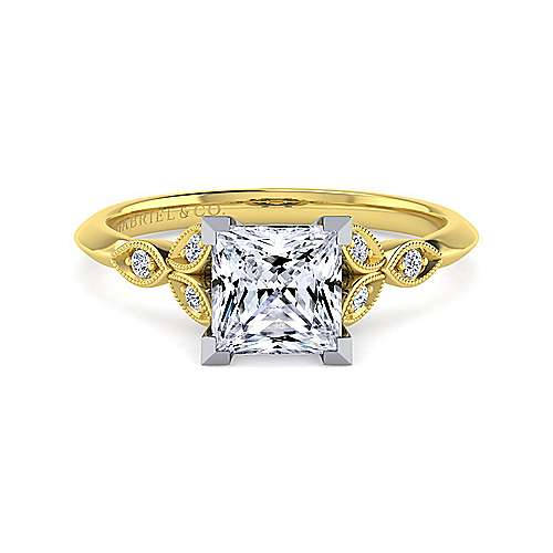 Vintage Inspired 14K White-Yellow Gold Split Shank Princess Cut Diamond Engagement Ring