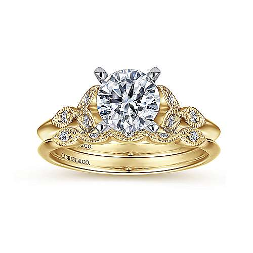 Vintage Inspired 14K White-Yellow Gold Split Shank Round Diamond Engagement Ring