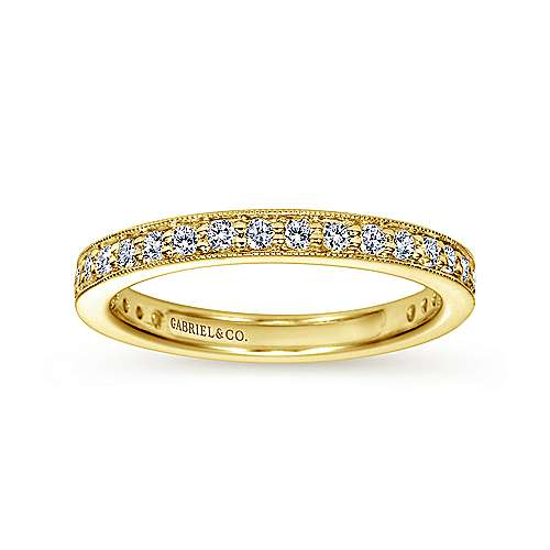 Vintage Inspired 14K Yellow Gold Channel Prong Set Diamond Eternity Band