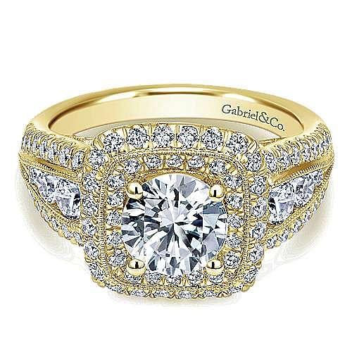 Vintage Inspired 14K Yellow Gold Cushion Double Halo Round Diamond Engagement Ring