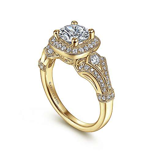 Vintage Inspired 14K Yellow Gold Cushion Halo Round Diamond Engagement Ring