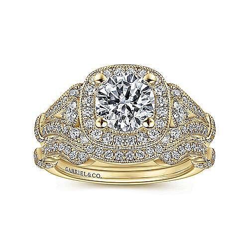 Vintage Inspired 14K Yellow Gold Cushion Halo Round Diamond Engagement Ring