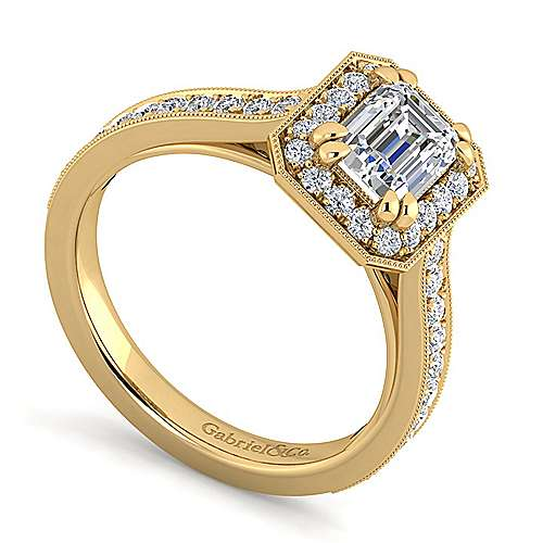 Vintage Inspired 14K Yellow Gold Emerald Halo Diamond Engagement Ring