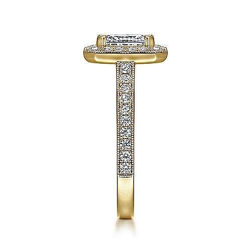 Vintage Inspired 14K Yellow Gold Emerald Halo Diamond Engagement Ring
