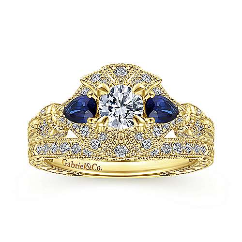 Vintage Inspired 14K Yellow Gold Fancy Three Stone Halo Round Sapphire and Diamond Engagement Ring