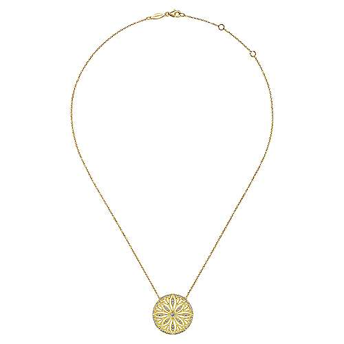 Vintage Inspired 14K Yellow Gold Floral Diamond Pendant Necklace