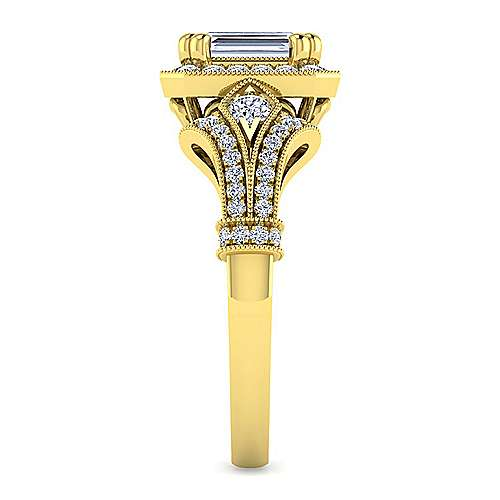 Vintage Inspired 14K Yellow Gold Halo Emerald Cut Diamond Engagement Ring