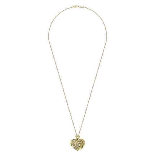 Vintage Inspired 14K Yellow Gold Heart Shaped Filigree Diamond Locket Necklace
