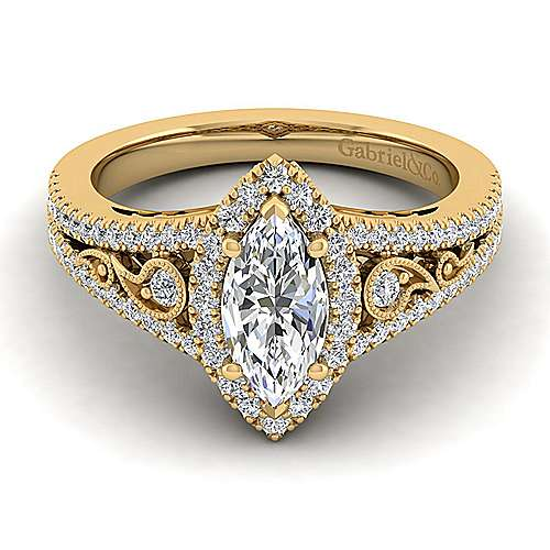 Vintage Inspired 14K Yellow Gold Marquise Halo Diamond Engagement Ring