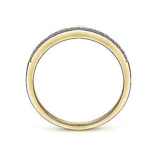 Vintage Inspired 14K Yellow Gold Micro Pavé Set Diamond Wedding Band