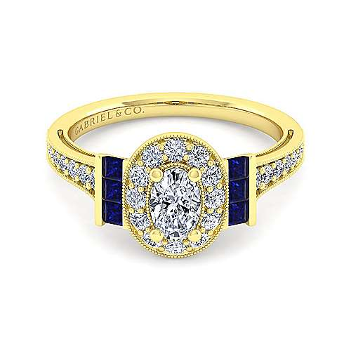 Vintage Inspired 14K Yellow Gold Oval Halo Sapphire and Diamond Engagement Ring