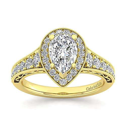 Vintage Inspired 14K Yellow Gold Pear Shape Halo Diamond Engagement Ring