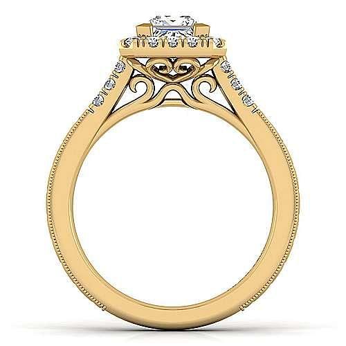 Vintage Inspired 14K Yellow Gold Princess Halo Diamond Engagement Ring