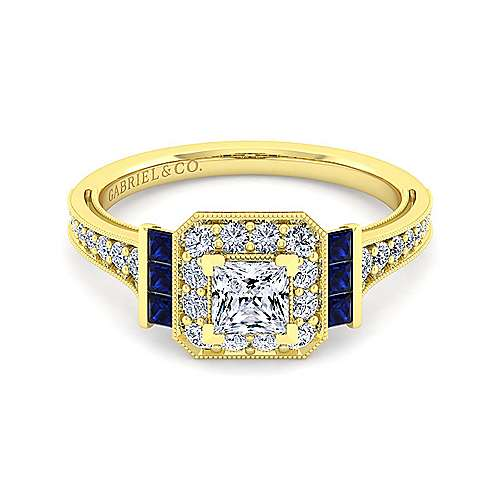 Vintage Inspired 14K Yellow Gold Princess Halo Sapphire and Diamond Engagement Ring