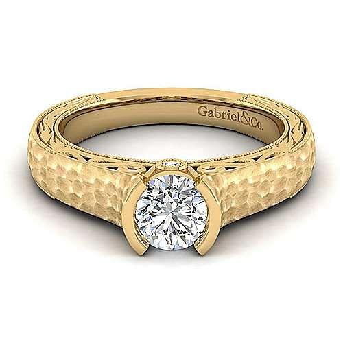 Vintage Inspired 14K Yellow Gold Round Diamond Engagement Ring