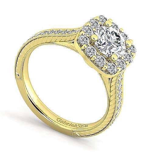 Vintage Inspired 14K Yellow Gold Round Halo Diamond Engagement Ring