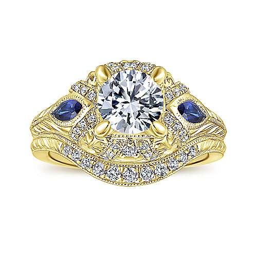 Vintage Inspired 14K Yellow Gold Round Three Stone Halo Diamond and Sapphire Engagement Ring