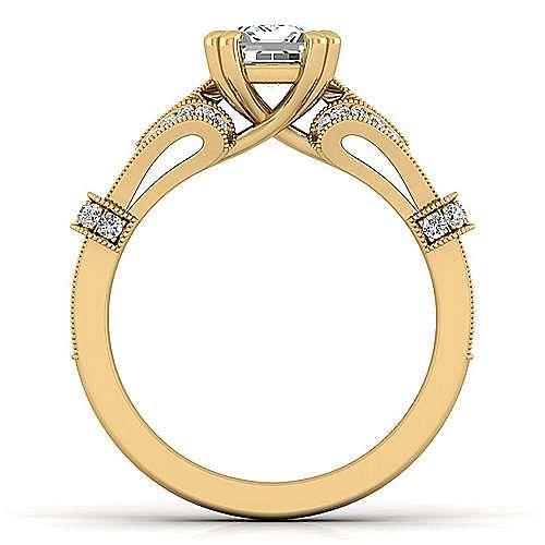 Vintage Inspired 14K Yellow Gold Split Shank Emerald Cut Diamond Engagement Ring