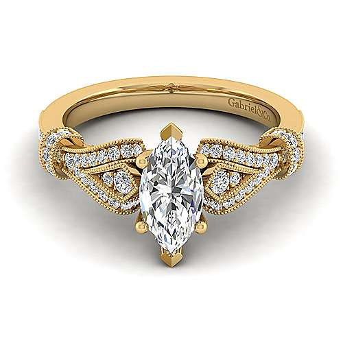 Vintage Inspired 14K Yellow Gold Split Shank Marquise Shape Diamond Engagement Ring
