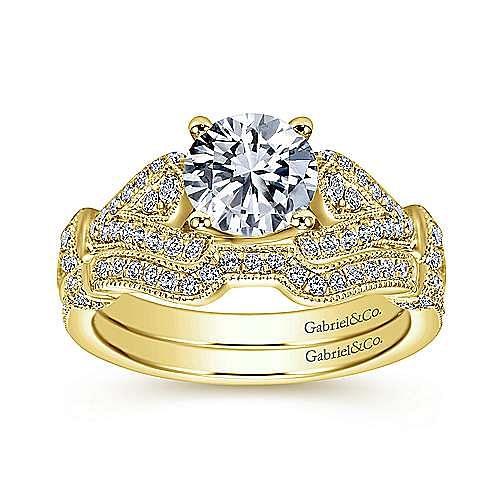Vintage Inspired 14K Yellow Gold Split Shank Round Diamond Engagement Ring