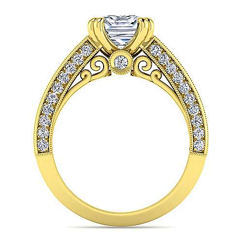 Vintage Inspired 14K Yellow Gold Wide Band Cushion Cut Diamond Engagement Ring