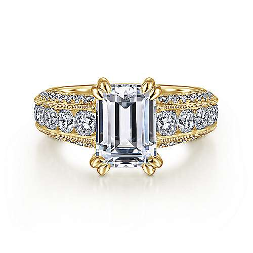 Vintage Inspired 14K Yellow Gold Wide Band Emerald Cut Diamond Engagement Ring