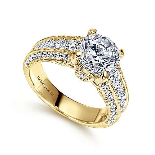 Vintage Inspired 14K Yellow Gold Wide Band Round Diamond Wide Band Engagement Ring