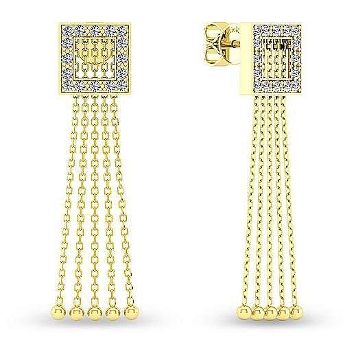 Vintage Inspired 14K Yellow Gold and Diamond Tassel Earrings