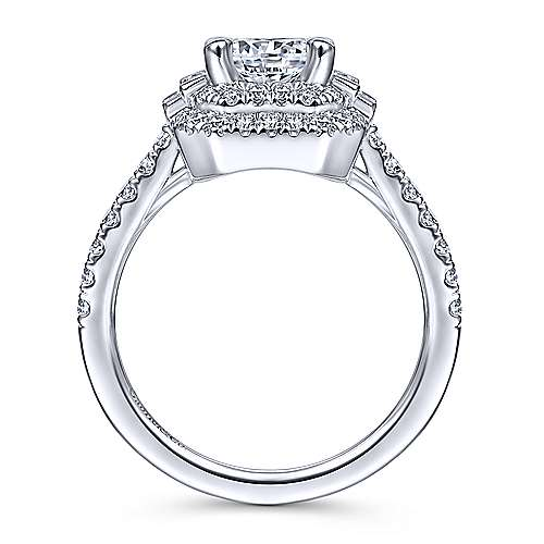 Vintage Inspired 14k White Gold Cushion Double Halo Round Diamond Engagement Ring