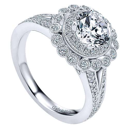 Vintage Inspired 14k White Gold Round Double Halo Diamond Engagement Ring