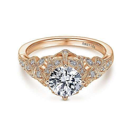 Vintage Inspired 18K Rose Gold Round Diamond Engagement Ring