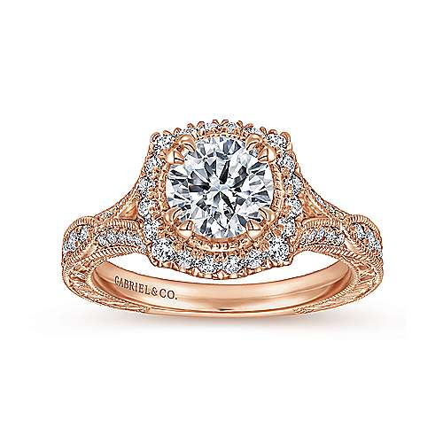 Vintage Inspired 18K Rose Gold Round Halo Sapphire and Diamond Engagement Ring