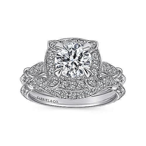Vintage Inspired 18K White Gold Cushion Halo Round Diamond Engagement Ring
