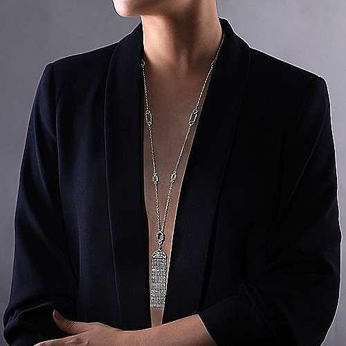 Vintage Inspired 18K White Gold Filigree and Diamond Tassel Pendant Necklace